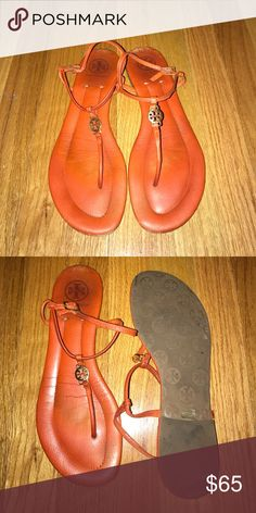 Tory Burch Orange Sandal Orange Sandal with small Tory logo. Worn a couple of summers but are in good condition. Tory Burch Shoes Sandals