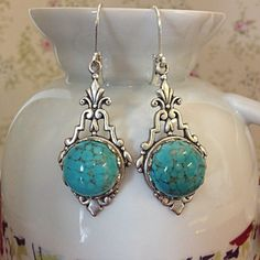 Vintage Silver and Turquoise Earrings