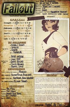 An official ref for my Fallout 4 OC, Mara! I used the old Fallout 3 OC sheet, so I just added some perks that made most sense. Mara is very well known for her kindness, especially knowing tha. Fallout Fan Art, Fallout Rpg, Fallout Game, Fallout New Vegas, Fallout Perks, Fallout Facts, Character Sheet, Character Art, Character Design