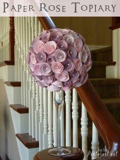 más y más manualidades: Cómo hacer un topiario con rosas de papel