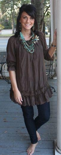 25822 Sassy Lady - Brown Babydoll Tunic  $38.95  Size: Small, Medium, Large, XLarge