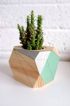 Geometric planter  wooden plant pot by by Polymorphics on Etsy