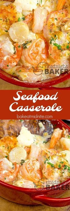If you love shrimp and scallops, you'll love this seafood casserole. Easy to. If you love shrimp and scallops, you'll love this seafood casserole. Easy to. Seafood Casserole Recipes, Seafood Bake, Seafood Appetizers, Seafood Pasta, Seafood Dinner, Casserole Dishes, Shrimp Casserole, Casserole Ideas, Seafood Lasagna