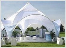 Clients can avail from us a huge variety of Gazebo & Garden Tent Tensile Structures. These structures are used in decorations of gardens and for many other occasions and functions in order to provide shelter from rain and to provide a shed area for the children to play.These are available in different sizes and shapes to suits clients' need. They give a beautiful look to the building at a reasonable cost. Our gazebos are geometrically shaped roof and free standing structures.