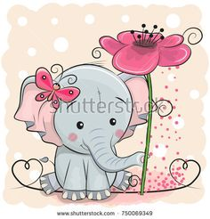 Illustration about Greeting card Elephant with flower on a pink background. Illustration of happy, flowers, backgrounds - 103474840 Cartoon Character Pictures, Baby Cartoon Characters, Cartoon Elephant, Elephant Love, Scrapbooking Image, Cute Illustration, Cute Drawings, Cute Cartoon, Cute Wallpapers