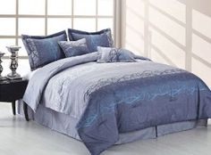Sooo pretty! Love the blue against the white room! #bedding #bedsets #comforters #bedinabag #bedroom #homedecor