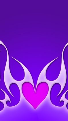 Purple flames and heart #iPhone wallpaper