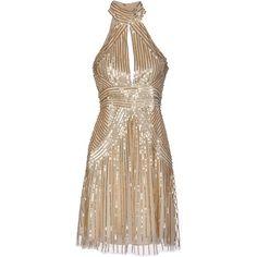 Elisabetta Franchi Gold Knee-length Dress ($340) ❤ liked on Polyvore featuring dresses, gold, sequin cocktail dresses, no sleeve dress, knee length dresses, sequin dresses and turtleneck top