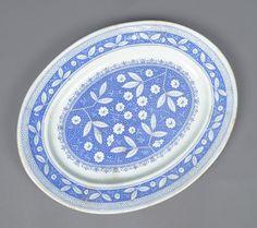 Antique 19c Aesthetic Blue Transferware Floral Pompadour Pattern Pottery Platter   eBay