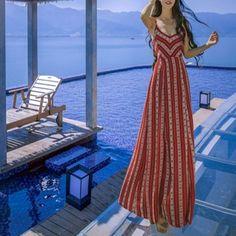 Maxi abito stampa floreale cravatta indietro traforati fessura cinghia di  spaghetti bohemien rosso - Vestito Maxi a2237908735