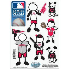 Cincinnati Reds MLB Family Car Decal Set (Small)