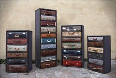Inspiration. cover real drawers with scrap fabric/leather & add handles & snaps to make look like made from authentic suitcase