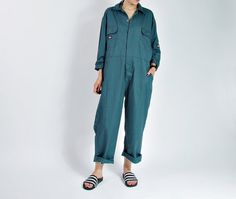 Vintage 70s Coveralls, 1970s Work Jumpsuit, Factory Uniform, Workwear, Mechanic, Tom Cat