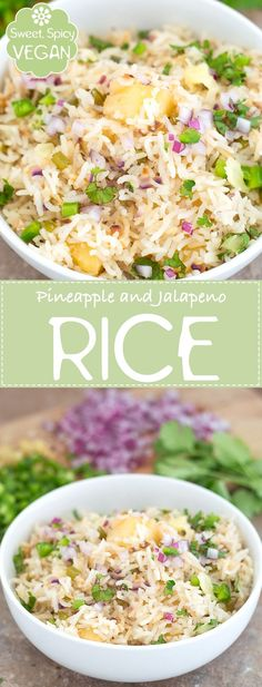 Quick and Easy Fried Rice Made with Pineapples and Jalapeno. This Vegan Pineapple Rice is the Perfect Side Dish or and a Lunch Recipe. | Vegan, weeknight dinner, meatless meals, family meals