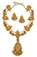 Silver Gold Plated Divine Ball Drop Necklace Set-Khajuraho