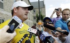 Buffalo Bills' Kyle Williams talks with reporters after arriving for NFL football training camp in Pittsford, N.Y., Tuesday, July 24, 2012. (AP Photo/David Duprey)