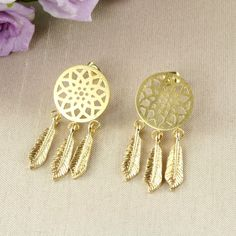 A2 Yellow Gold Plated Dreamcatcher Dangle Stud Earrings - Giftboxed