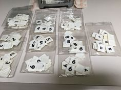 MATH DICE, SET OF 11, WHITE TILES, BLACK NUMBERS, MATH SYMBOLS #Unbranded