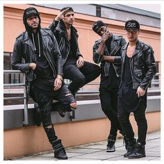 All Black, Leather Biker Jacket, Men's Fashion