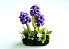 Miniature Plants Polymer Clay Flowers Supplies for Dollhouse, Violet Hyacinth