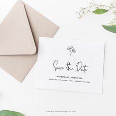 A minimalist save the date template with modern typography and simple botanicals by MyCrayons Design.  #savethedate #weddinginvitationsdiy #minimalistwedding