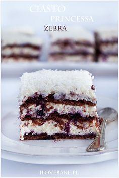 Ciasto princessa zebra - I Love Bake Polish Recipes, Polish Food, Baking Tips, Vanilla Cake, Brown Sugar, Sweet Tooth, Bakery, Sweet Treats, Food And Drink