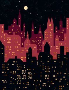 """Big City Night Lights"" Graphic/Illustration by Benjamin Bay posters, art prints, canvas prints, greeting cards or gallery prints. Find more Graphic/Illustration art prints and posters in the ARTFL. City Skyline Night, Night City, Building Painting, City Painting, Night Illustration, Graphic Design Illustration, Deco Cafe, City Lights, Night Lights"