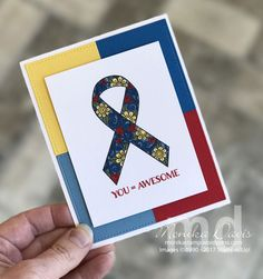 I'm participating today in a Blog Hop for Autism Awareness. Our challenge is to create a card using the Autism colors of Red, Blue and Yellow. Every person participating in this blog hop wi…