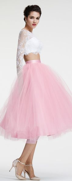 24725db165 Light pink two piece prom dresses long sleeves ball gown prom dress tea  length homecoming dresses