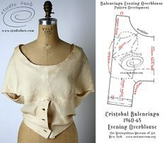 Balenciaga Evening Overblouse - more on the blog - http://studiofaro-wellsuited.blogspot.com.au/2013/12/pattern-puzzle-balenciaga-evening.html