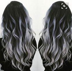 Black to gray silver balayage - Hair - Hair Colored Curly Hair, Long Curly Hair, Curly Hair Styles, Ombre Hair Color, Gray Ombre, Hair Colors, Black To Grey Ombre Hair, Silver Ombre Hair, Curly Silver Hair