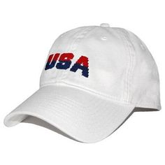 USA Needlepoint Hat in White by Smathers & Branson #$0-to-$50 #All-Hats #hats