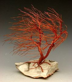 Winter is not always  kind .  Windswept Tree Metal Sculpture | Windswept Wire Tree Sculpture | Metal, Clay and Wire Crafts