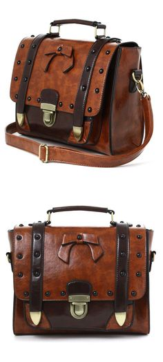 Leather Bow Satchel Bag //