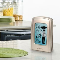 The AcuRite Digital Weather Station (00827) uses patented Self-Calibrating Technology to provide your personal forecast of 12 to 24 hour weather conditions. The 20 different boy and girl icons provide a clothing recommendation based on the forecast. The LCD screen also displays the pressure weather trend, current indoor / outdoor temperature, indoor humidity & time. The outdoor sensor features wireless technology and an integrated hanger for easy mounting. $34.99 on AcuRite.com.
