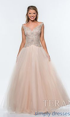 Long V-Neck Ball Gown by Terani at SimplyDresses.com