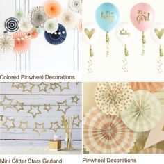 BABY SHOWER DECOR Pinwheel Decorations, Baby Shower Decorations, Star Garland, Glitter Stars, Pinwheels, Party, Color, Bright Stars, Colour