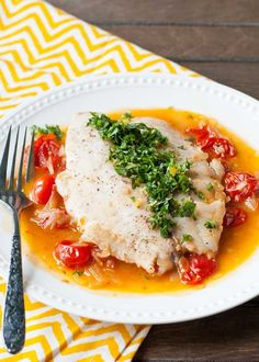 {One Skillet Meal} Flaky Tilapia over Garlic Tomato Wine Broth