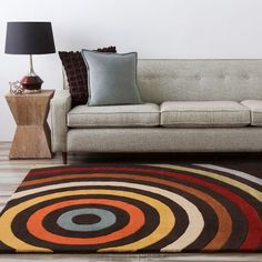 Hand-tufted Black Contemporary Multi Colored Circles Mayflower Rug