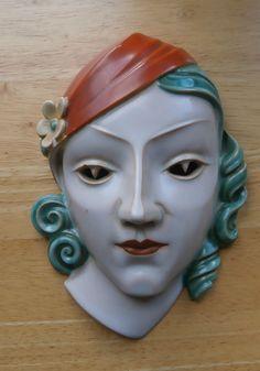 Rosenthal Keramik Germany Art Deco Lady Wall Mask Adolf Rohring Allach interest #WallPlaques