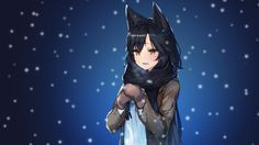 Anime 3840x2160 anime anime girls League of Legends Ahri (League of Legends) Ahri snow animal ears long hair black hair yellow eyes