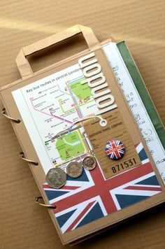 Travel album/Journal. Idea from http://patmiaou.canalblog.com/archives/2012/06/17/24518279.html