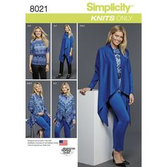Easy-to-Sew knit sportswear pattern for Miss and Plus sizes features pull on knit pants, knit tee with half sleeves, and long sleeve draped cardigan in two lengths that looks great both open and closed. Simplicity sewing pattern.
