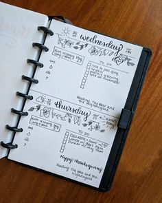 Bullet journal daily layout, weather tracker, brush lettering, cursive headers, flower doodles. @afineplanner