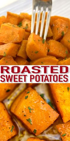 Roasted Sweet Potatoes Recipe [Video] - Sweet and Savory Meals Roasted Sweet Potatoes are crispy on the outside and tender on the inside! Cooking this dish will only take 30 minutes making this a great dinner staple! Roasted Potato Recipes, Roasted Sweet Potatoes, Veggie Recipes, Vegetarian Recipes, Cooking Recipes, Healthy Recipes, Burger Recipes, Sweet Potatoes On Grill, Kitchen