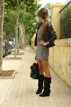 black boots and grey dress