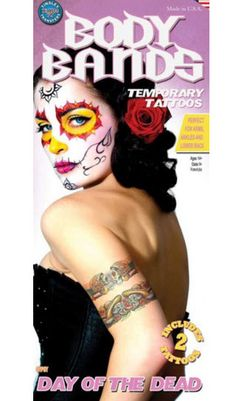 2 day of the dead body bands Tinsley Transfers temporary tattoos with skulls, gitars and roses. #t4aw #tattooforaweek #temporarytattoo #faketattoo #tinsleytransfers #bodyband #dayofthedead #skull #gitar #roses #gitane #gypsy