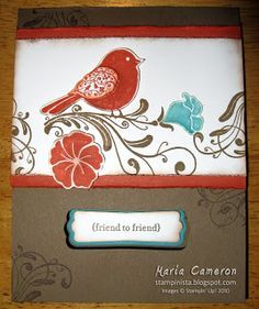 sepia bird using Stampin Up Wings of Friendship | SU Wings of ...
