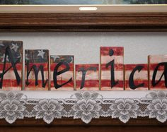 America - Wood Letter Blocks - Patriotic or 4th of July Decoration