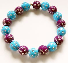 Stretch Bracelet-Acrylic Blue and Purple Beads with Etched Silver Stars by rosaliascharm on Etsy